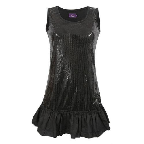 Šaty Womens Sequin Dress Black
