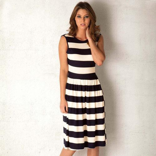 Šaty Clubl Womens Stripe Midi Dress Black-White