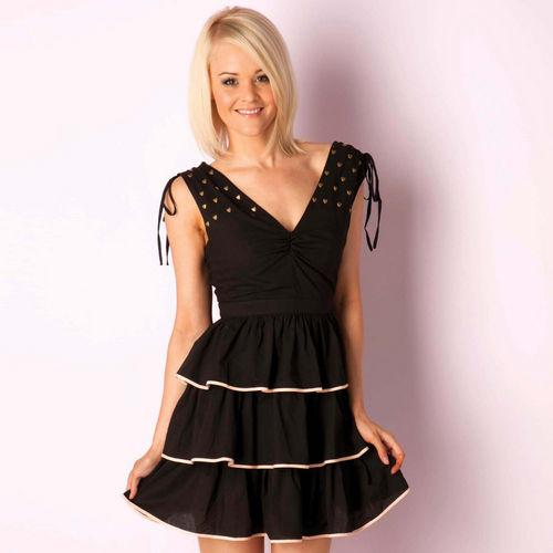 Šaty Womens Tiered Dress Black