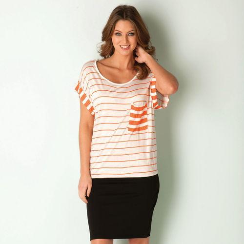 Šaty Vero Moda Womens Zea Stripe Dress Coral