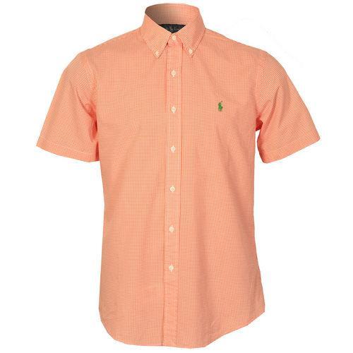 Košile Ralph Lauren Mens Custom Fit Short Sleeve Gingham Shirt Orange white