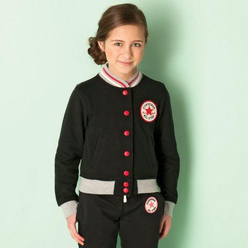 Converse Junior Girls Baseball Jacket Black