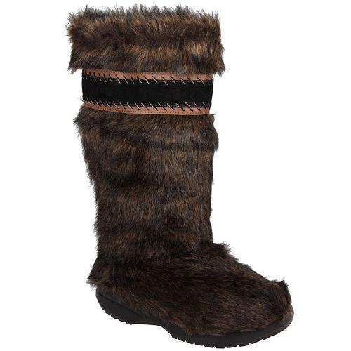 Womens Cozy Crocs Fuzz Bootsie Brown