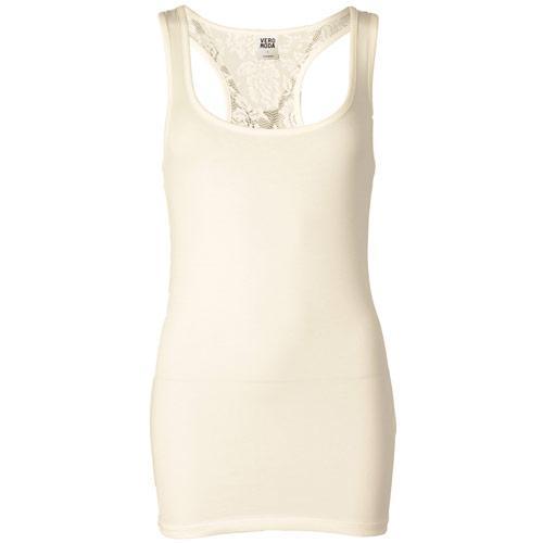 Vero Moda Womens Hoja Lace Tank Top Cream