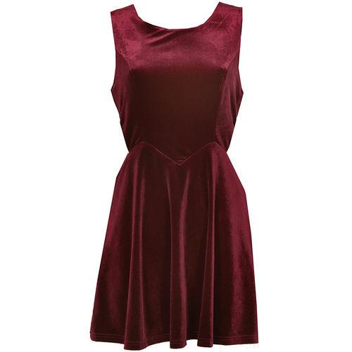 Šaty Womens Velvet Dress Burgundy