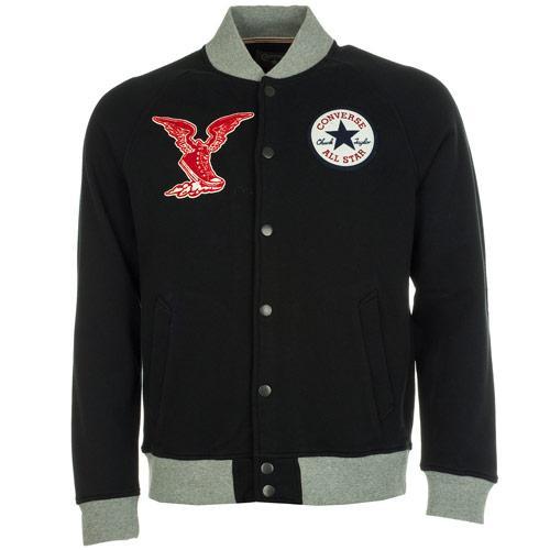 Bunda Converse Mens Fleece Baseball Jacket Black