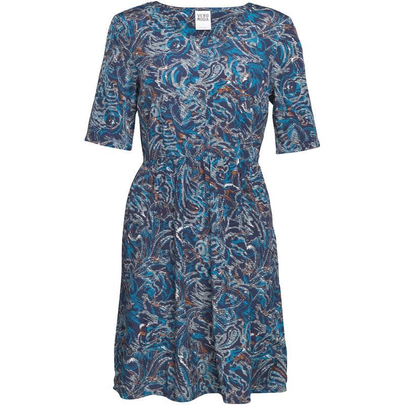 Šaty Vero Moda Womens Alex Short Dress Black Iris/AOP Multi