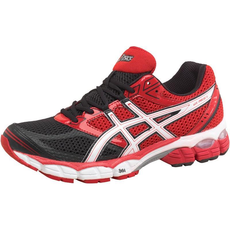 Asics Mens Gel Pulse 5 Neutral Running Shoes Black/Snow/Red