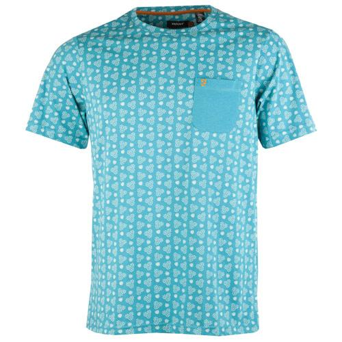 Tričko Farah Mens The Zac Circle Retro Print T-Shirt Blue