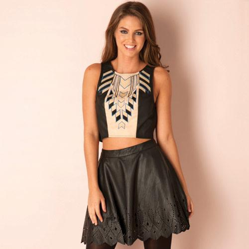 Sukně Glamorous Womens Laser Cut Skater Skirt Black