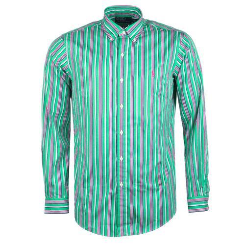 Košile Ralph Lauren Mens Long Sleeve Casual Stripe Shirt Green