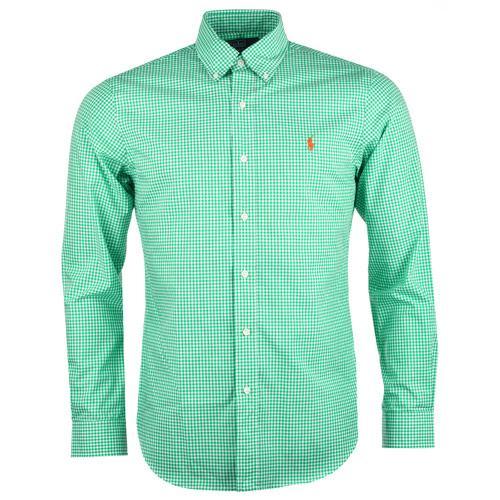 Košile Ralph Lauren Mens Slim Fit Long Sleeve Casual Check Shirt Green White, Velikost: XL
