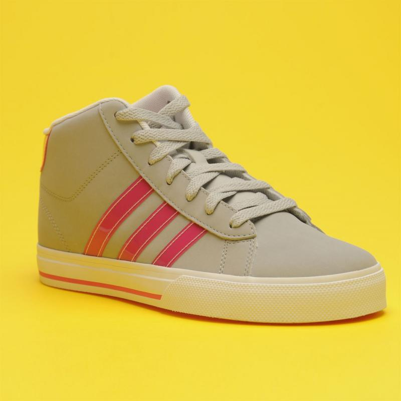adidas Neo Daily Mid Top Junior Girls Trainers LtOnix/Pink