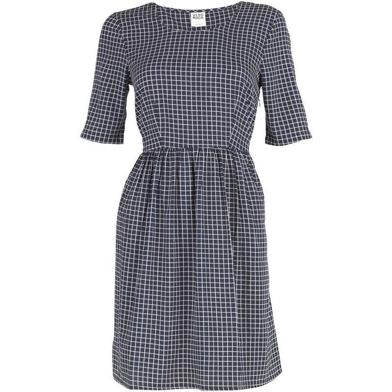 Šaty Vero Moda Womens Alex Short Dress Black Iris/AOP Check
