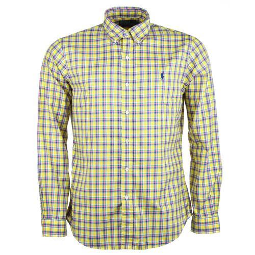 Košile Ralph Lauren Mens Slim Fit Long Sleeve Casual Check Shirt Yellow Blue