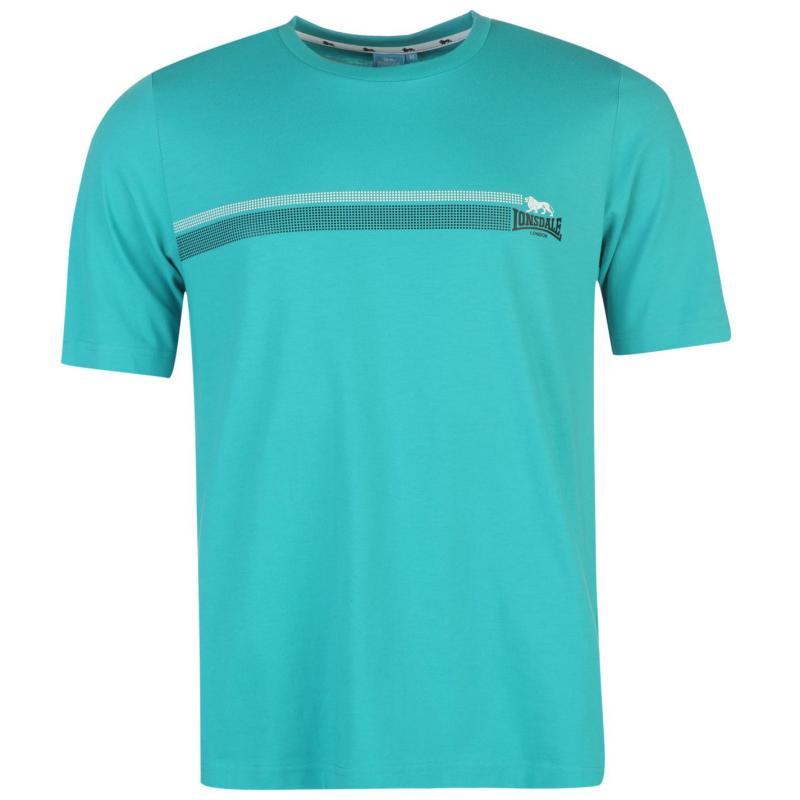 Tričko Lonsdale 2 Stripe T Shirt Mens Black/Charcoal