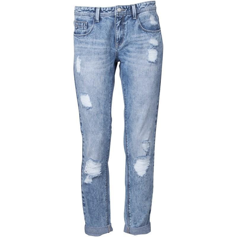 Fluid Womens Straight Leg Jeans Mid Blue