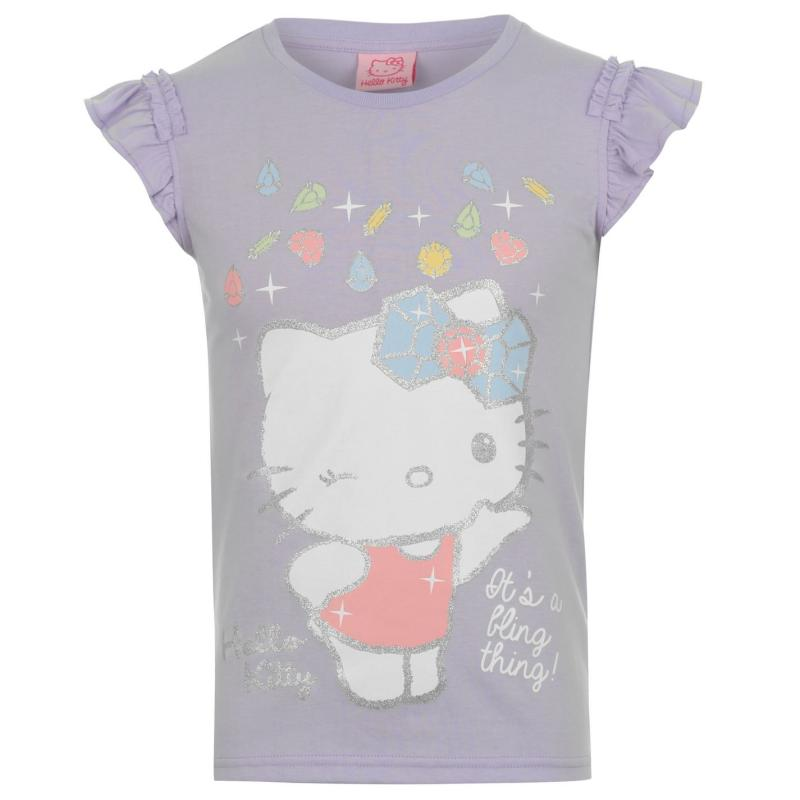 Hello Kitty Kitty Short Sleeved T Shirt Junior Purple