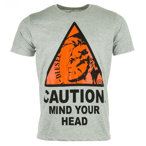 Tričko Diesel Mens T-Caution T-Shirt Grey