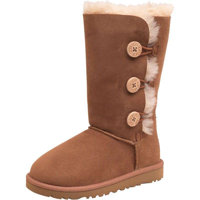 Ugg Junior Girls Bailey Button Triplet Boots Chestnut