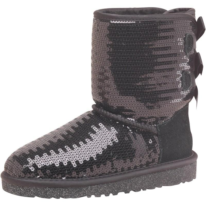 Ugg Girls Bailey Bow Sparkle Boots Black