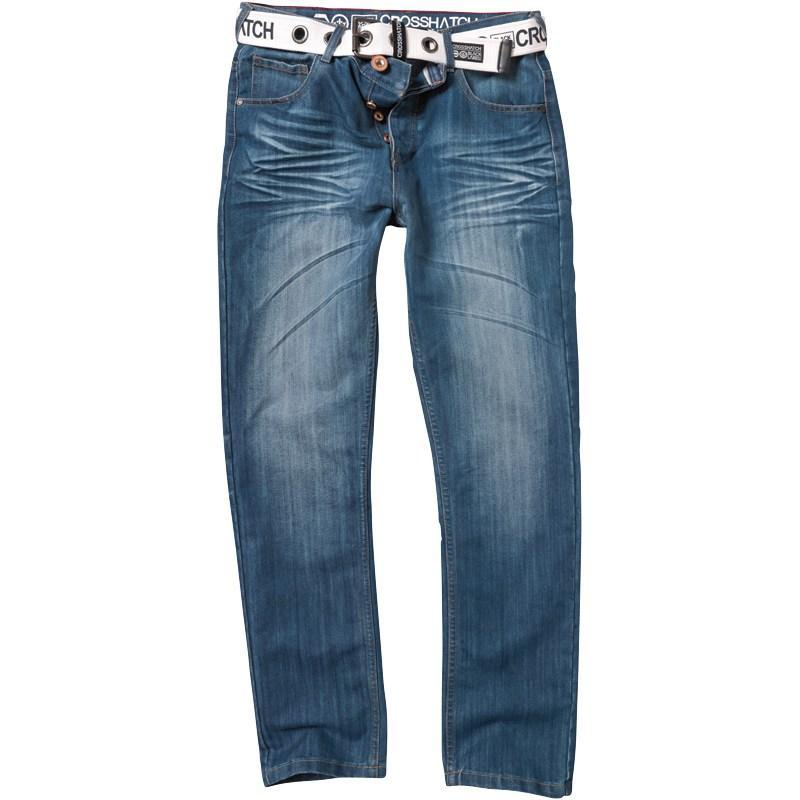 Crosshatch Mens Columbo Jeans Stonewash