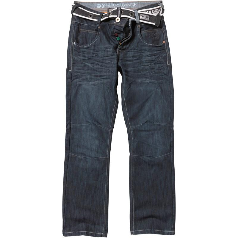 Crosshatch Mens Oakland Jeans Darkwash