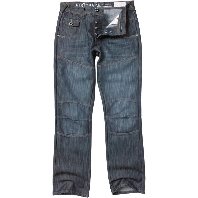 Firetrap Mens Denim Panel Leg Jeans Darkwash
