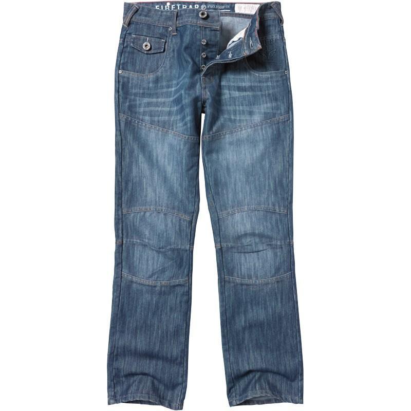 Firetrap Mens Denim Panel Leg Jeans Stonewash