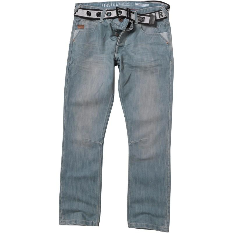 Firetrap Mens Rockford Jeans With Web Belt Lightwash