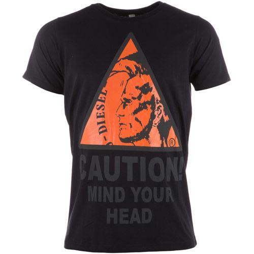 Tričko Diesel Mens T-Caution T-Shirt Black