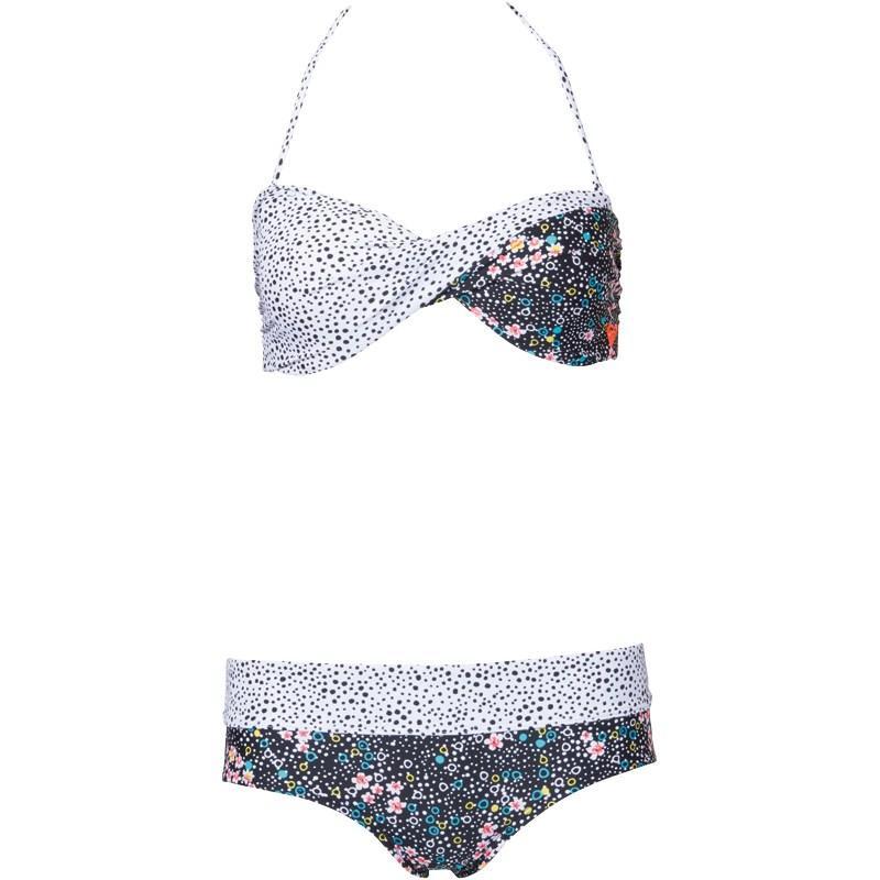 Plavky Roxy Womens Twist Bandeau Bikini True Black/Daisy Floral
