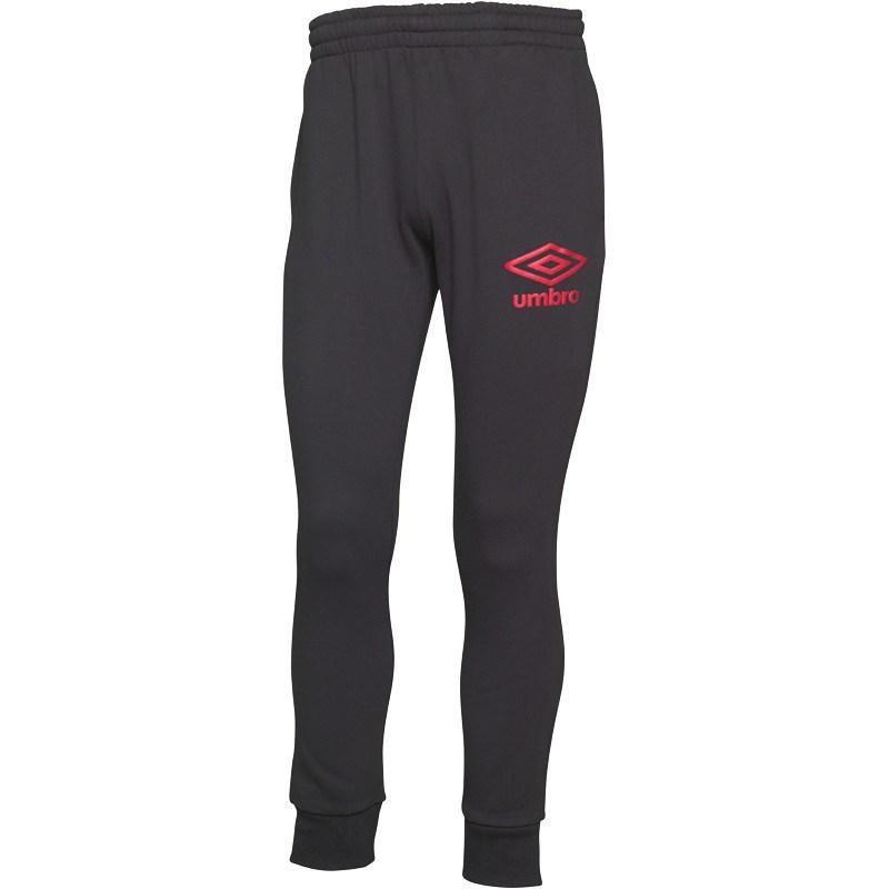 Tepláky Umbro Mens Slim Cuffed Sweat Pants Black/Crimson