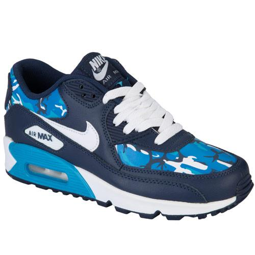 Boty Nike Junior Boys Air Max 90 Print Trainers Navy