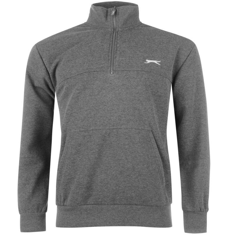 Slazenger Quarter Zip Fleece Top Mens Black, Velikost: S