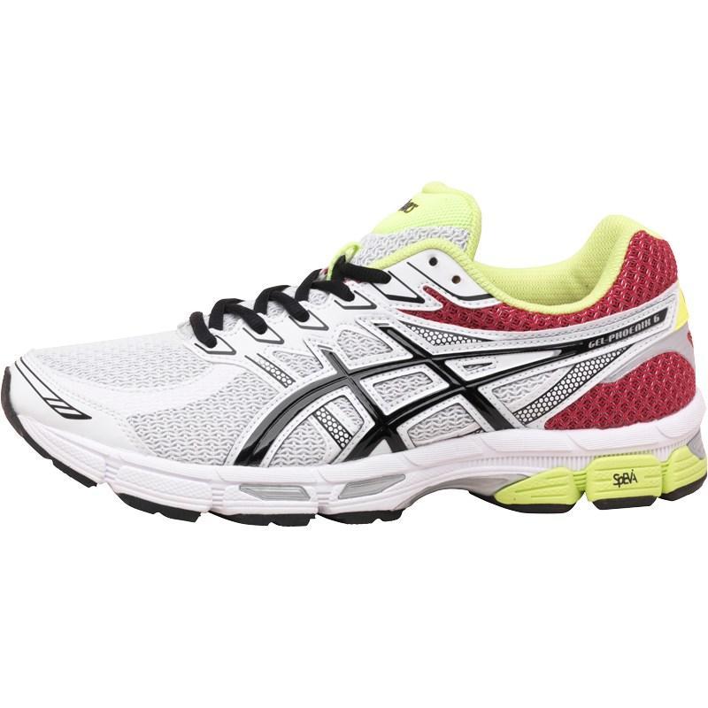 Asics Mens Gel Phoenix 6 Stability Running Shoes Snow/Black/Red