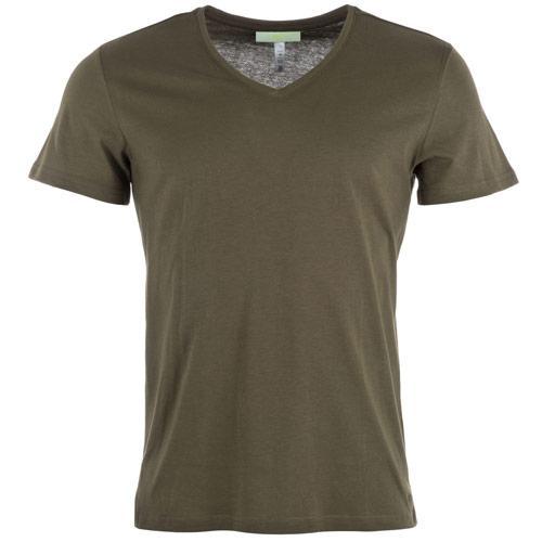 Tričko Adidas Mens ST Basics V-Neck T-Shirt olive