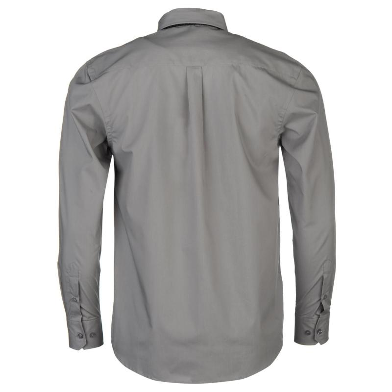 Košile Pierre Cardin Shirt and Tie Set Mens Wht/Grey Stripe