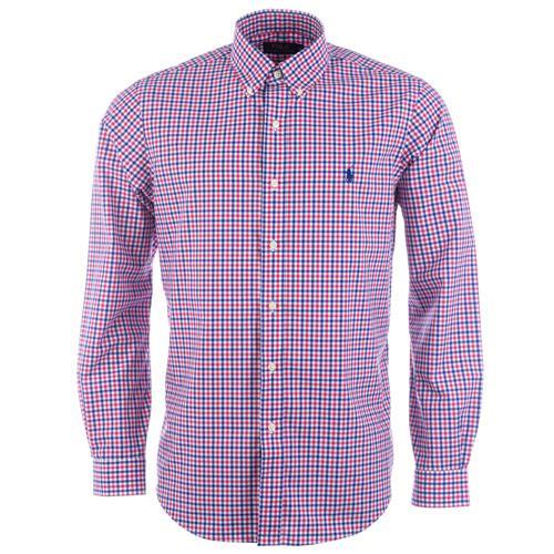 Košile Ralph Lauren Mens Long Sleeve Check Shirt Raspberry