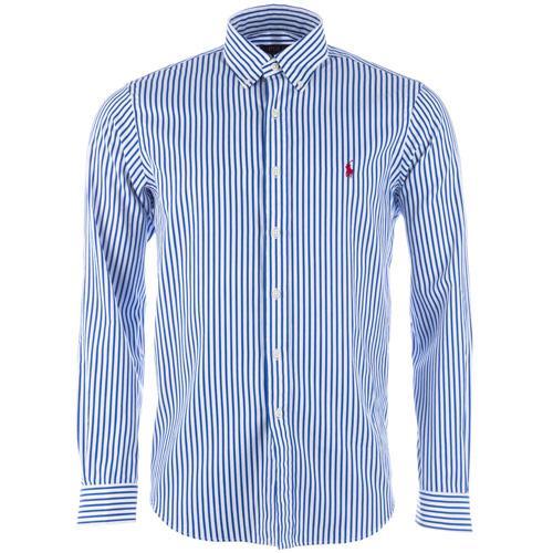 Košile Ralph Lauren Mens Long Sleeve Stripe Shirt royal white
