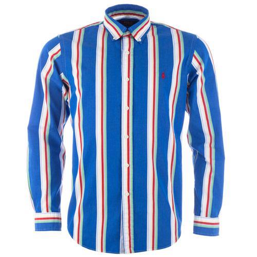 Košile Ralph Lauren Mens Long Sleeve Stripe Shirt Blue red