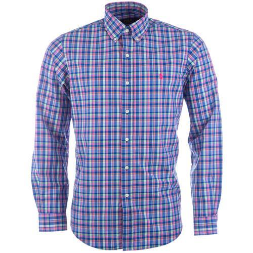 Košile Ralph Lauren Mens Long Sleeve Check Shirt Royal Blue