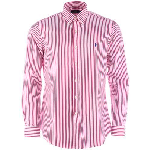 Košile Ralph Lauren Mens Long Sleeve Stripe Shirt red white