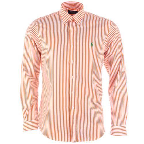 Košile Ralph Lauren Mens Long Sleeve Stripe Sport Shirt Orange white