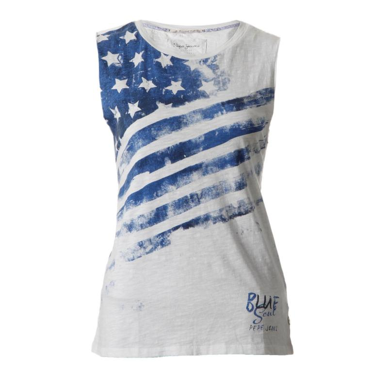 Pepe Jeans Mai Top Ladies White/Blue