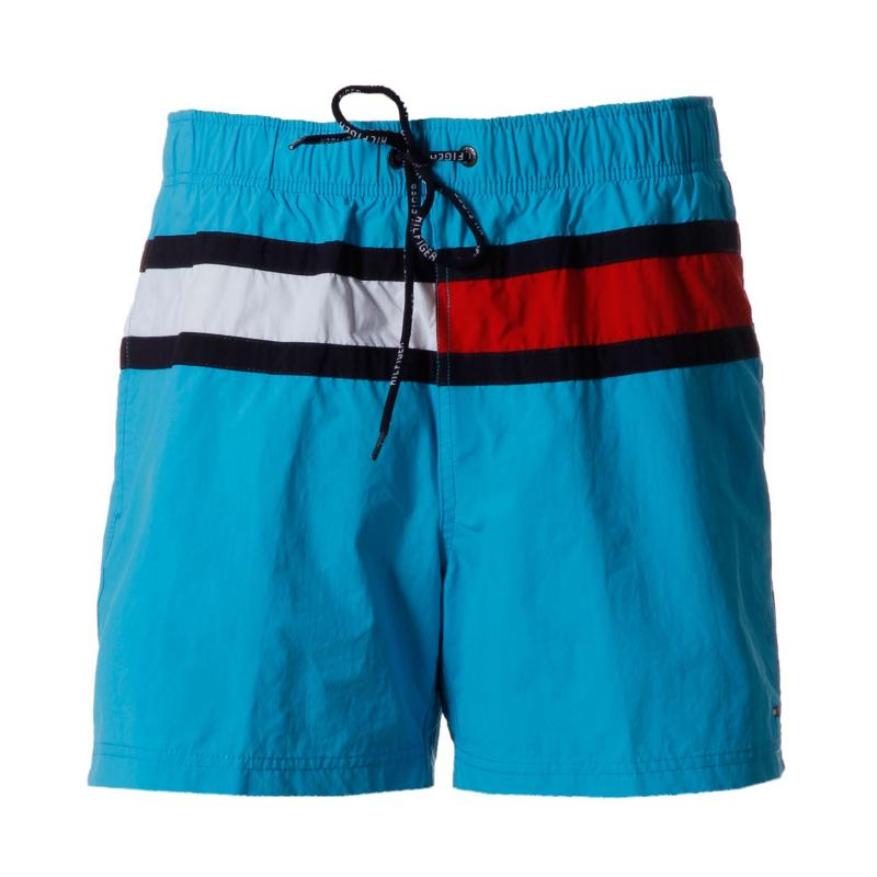 Plavky Tommy Hilfiger Flag Trunk Snr52 Turquoise