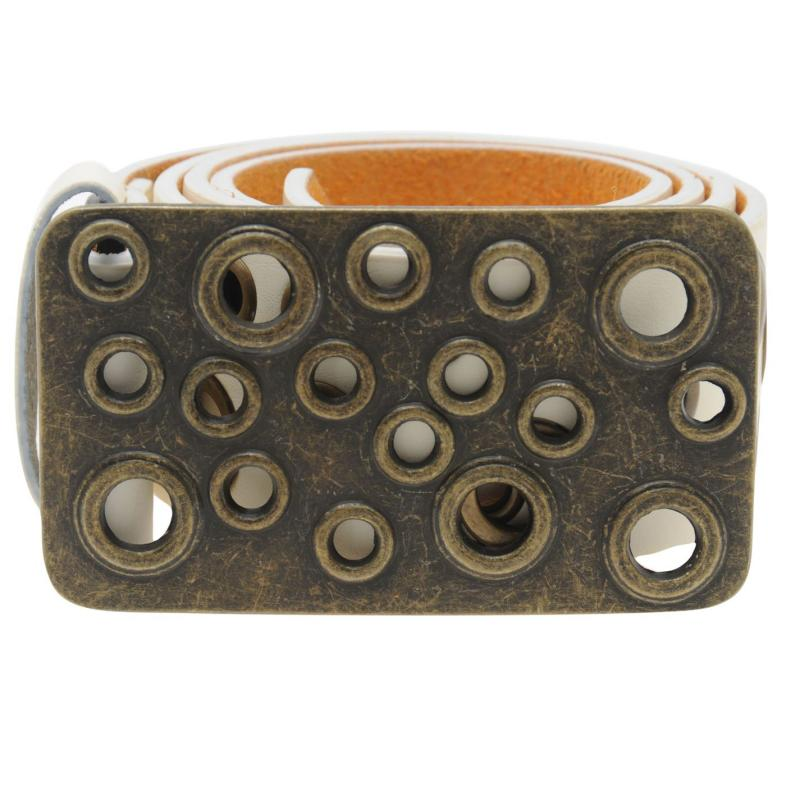 F.Rocks Rocks Gold Eyelet Belt Mens Black