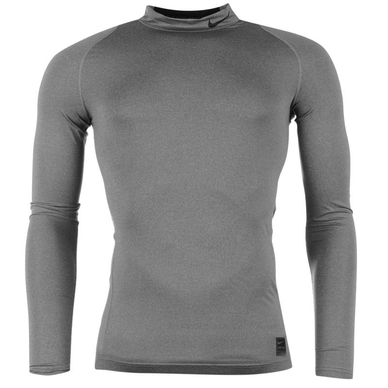 Nike Pro Core Mock Neck TShirt Mens Grey