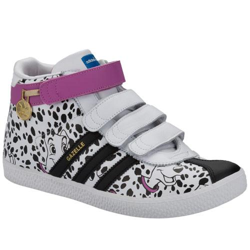 Adidas Originals Junior Girls Gazelle 101 Dalmation Mid Trainers White Black, Velikost: UK5 (euro 38)