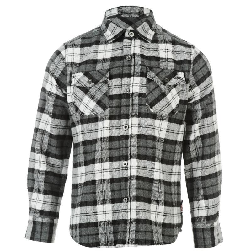 Košile Lee Cooper Flannel Shirt Junior Boys Black/White/Gry